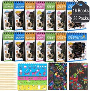 POKONBOY 16 Pack Scratch Arts and Crafts Notebooks, Scratch Note Pads for Kids Rainbow Party Favors Coloring Books for Kids Art Party Supplies Stocking Stuffers(16 Wooden Stylus & 4 Drawing Stencils)