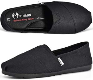 PTHANN Classic Black Flats Shoes Women with Arch Support, Black Loafers for Women Canvas Shoes Walking Flats with Memory Foam, Comfortable Non Slip On Shoes for Women to Wear Daily