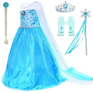 Party Chili Princess Costumes Birthday Party Dress Up for Little Girls with Wig,Crown,Mace,Gloves Accessories Age 2-11 Years