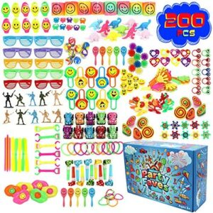 Party Faves 200PC Party Favors for Kids Goodie Bags Toy Assortment Goodie Bag Fillers Carnival Prizes for Kids Classroom Pinata Filler Treasure Box Toys