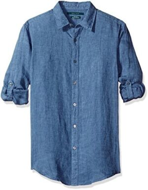 Perry Ellis Men's Long Sleeve Solid Linen Button-up Chambray Shirt