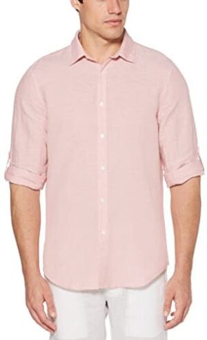 Perry Ellis Men's Rolled-Sleeve Solid Linen Cotton Button-up Shirt