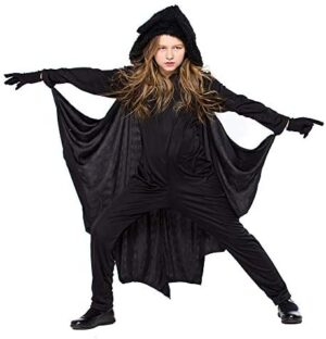 QBSM Kids Unisex Bat Costume Jumpsuit Halloween Cosplay Costume Child Party Flying Bat Costume with Gloves