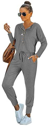 REORIA Women Casual Long Sleeve V Neck Button Down Henley Shirts Harem Jumpsuits Rompers