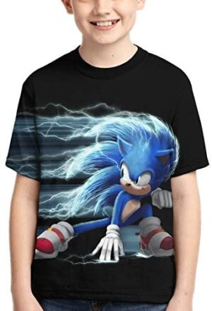 RONGANDHE Sonic The Hedgehog T-Shirts 3D Print Boys and Girls Fashion T-Shirts Short Sleeve Anime Cartoon T Shirt