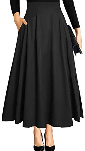 Ranphee Women's Ankle Length High Waist A-line Flowy Long Maxi Skirt with Pockets