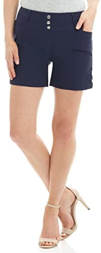 Rekucci Women's Ease into Comfort Stretchable Pull-On 5 inch Slimming Tab Short