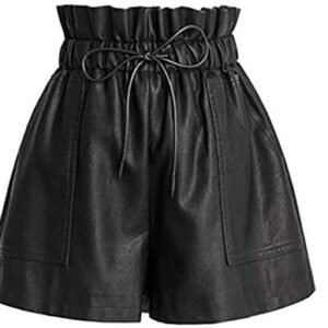 SCHHJZPJ High Waisted Wide Leg Black Faux Leather Shorts for Women