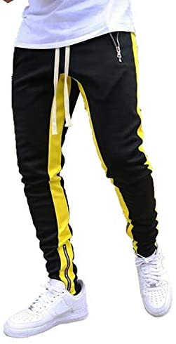 SHIPE Men's Sweatpants Drawstring Trousers for Joggers Workout Gym with Zipper Pockets