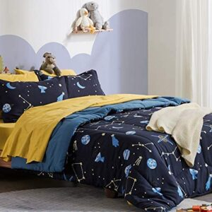 SLEEP ZONE Kids Bed-in-a-Bag Bedding Set Easy-Care Microfiber Ultra Soft Comforter and Sheet Sets with Shams 5 Pieces Galaxy, Blue, Twin