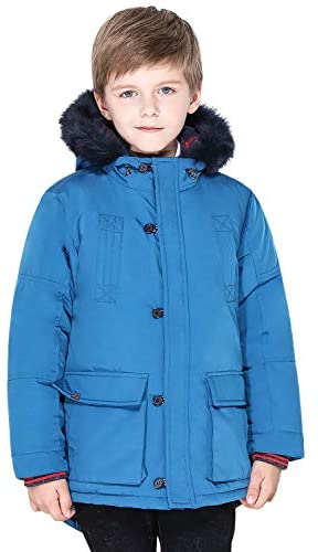 SOLOCOTE Boys Winter Coats Kids Winter Jacket Warm Thick Heavyweight Tough Long Windproof Outwear with Hood
