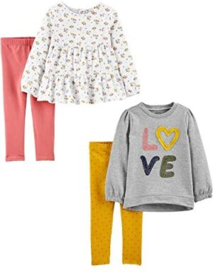 Simple Joys by Carter's Girls' 4-Piece Long-Sleeve Shirts and Pants Playwear Set