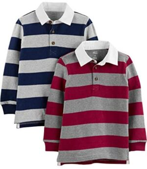 Simple Joys by Carter's Toddler Boys' 2-Pack Long-Sleeve Rugby Striped Shirts