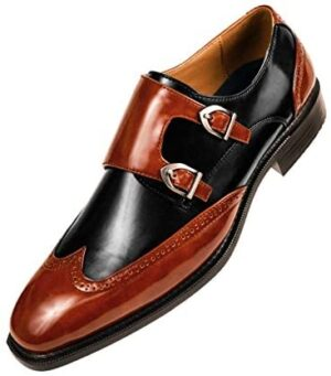 Sio The Original Mens Smooth Faux Leather Double Monk Strap Formal Tuxedo Oxford Wingtip Dress Shoe