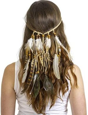 Skeleteen Indian Feather Headband Accessories - Native American Tribal Costume Head Dress with Feathers for Women and Kids