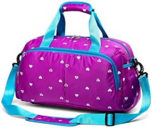 Small Overnight Duffel Bag for Little Girls Kids Gym Yoga workout Dance Bag Womens Travel Carrying Duffle Crossbody Bag with Shoulder Straps Zipper Pockets Washable Waterproof Large Capacity (Purple)