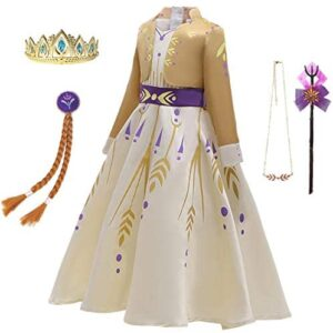 Snow Queen Act 2 Dress - Girls Yellow Princess Costume Outfit Kid Ice Role Cosplay Birthday Party Apparel