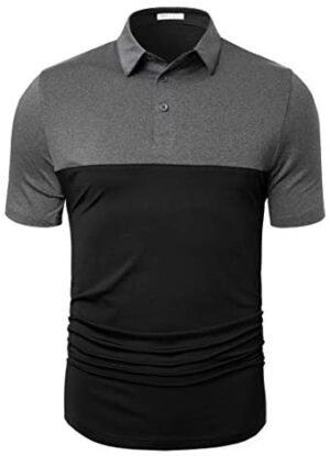 TAPULCO Men's Dry Fit Golf Polos Long Sleeve 2 Tone Moisture Wicking Casual Polo Shirt
