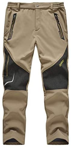 TBMPOY Men's Outdoor Fleece Lined Softshell Pants Waterproof Quick Dry Hiking Camping Pants