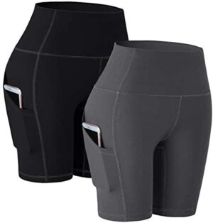 """TOREEL Biker Shorts for Women with Pockets 8"""" 2 Pack High Waisted Workout Shorts for Women Athletic Running Shorts…"""
