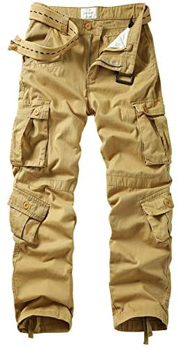 TRGPSG Men's Military Tactical Cargo Pants, Cotton Casual Outdoor Relaxed Fit Combat Work Trousers with 9 Pockets
