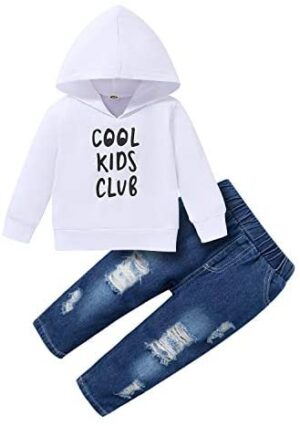 Toddler Baby Boy Clothes, Long Sleeve Letter Hoodies Top+Ripped Denim Pants 2pcs Fall Winter Outfit Sets