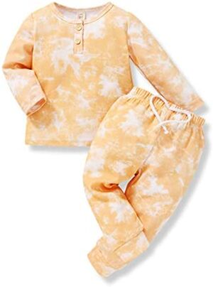 Toddler Baby Boy Girl Tie Dye Pajama Pants Sets Solid Color Long Sleeve Blouse Top + Pants Fall Outfits 2PCS Winter Clothes