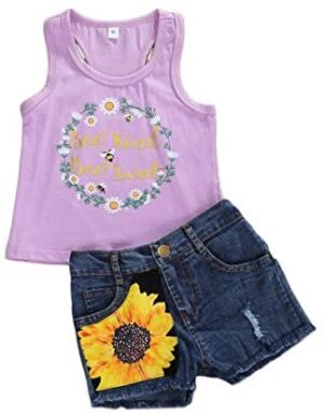 Toddler Baby Girl Summer Outfits Sleeveless T-Shirt Top+Sunflower Denim Shorts Clothes Sets 1T-5T