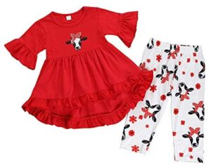 Toddler Baby Girls Clothes Pleated Cow Ruffle Dress Tops+Floral Pants Outfit Set