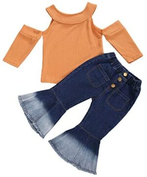 Toddler Kids Little Girls Clothes Ribbed Off Shoulder Tops Shirts+Flare Bell Bottom Jeans Pants Fall Outfits Set