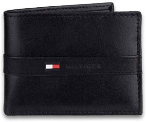 Tommy Hilfiger Men's Leather Wallet – Slim Bifold with 6 Credit Card Pockets and Removable Id Window, Casual Black, One Size