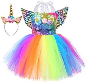 Tutu Dreams 3pcs Rainbow Unicorn Costume for Girls with Wings and Headband Birthday Halloween Party Dress Up
