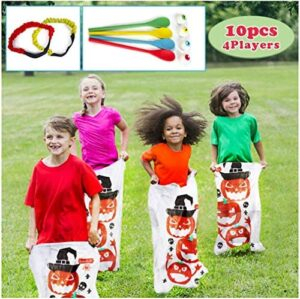 Twister.CK Halloween Potato Sack Race Bags, Eyeball and Spoon Race Games,Bags Lawn Game, 3 Legged Race Bands for All Ages Kids and Family,Halloween Outdoor Fun Games,Party Favor Supplies Activities,Classroom Activities (10 Pack 4 Players)