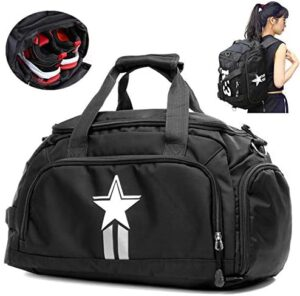 UOWGA 3-Way Travel Duffel Backpack Luggage Gym Sports Bag with Shoe Compartment 35L (Black)