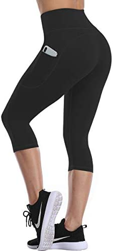 UURUN High Waisted Yoga Pants for Women Capri Workout Leggings with Pockets - Naked Feeling Fabric