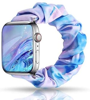 UooMoo Tie dye Scrunchie Elastic Band Compatible for Apple Watch Band 38 40mm,Tie-dye Elastic Hair Wristbands Replacement for iWatch Series 6/5/4/3/2/1 Women Girls