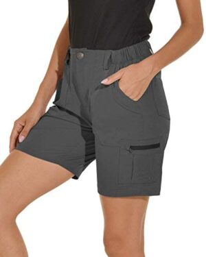 VAYAGER Women's Lightweight Cargo Short for Hiking,Camping and Travel with 6 Pockets Quick Dry Water Resistant