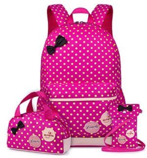 VBG VBIGER Carvas Backpack for Boys & Girls School Bags Polka Dot Backpack 3pcs Kids Book Bags Lunch Bags Purse