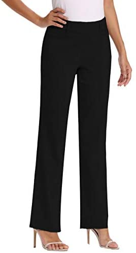 Vocni Women's Bootcut Stretch Elastic Waist Slim Fit Comfortable Pull on Dress Pants Full Ankle Length Trousers