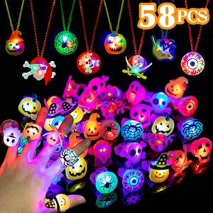 WEBSUN Halloween Party Favors 58 PCS LED Flash Rings & Light Up Necklaces for Kids & Adults Party Decorations, Glow in The Dark Halloween Party Supplies Non Candy Halloween Treats Goodie Bag Fillers