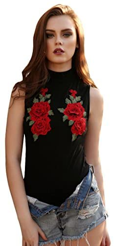 WEUIE Womens Sleeveless Embroidered Jumpsuit Romper,Leotard Party Bodysuit Backless Clubwear Bodycon Playsuit