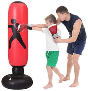 WHIRLGEE Inflatable Punching Bag for Kids Adult, 63Inch Decompression Fitness Punching Bag Freestanding Boxing Bag for Children Bounce-Back Action Practicing Karate, Taekwondo (red, 63)