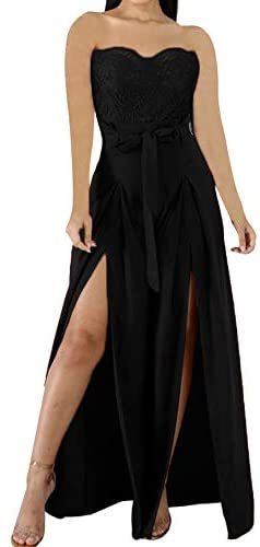 Wide Leg Jumpsuits Women - Sexy Stretch Lace Strapless V Neck High Waisted Split Wide Leg Jumpsuits Rompers