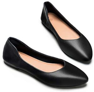 Womens Leather Flat Driving Loafers Node Flat Shoes for Women Classic Pointed Toe Comfortable Soft Ballet Shoes