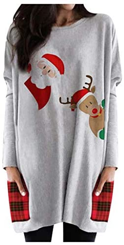 Women's New Christmas Pullover Sweater Novelty Long Sleeve O Neck Blouse Top