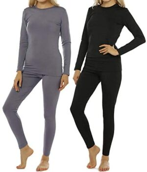Womens Thermal Underwear Set Long Johns with Fleece Lined Ultra Soft Top & Bottom Base Layer Thermals for Women