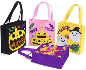 Xflyee Halloween Bags Trick or Treat Gift Bags Reusable Tote Bags Kids Toys Organizer Bags Shopping & Handmade Home Decor Bags for School with Handles 13.4''