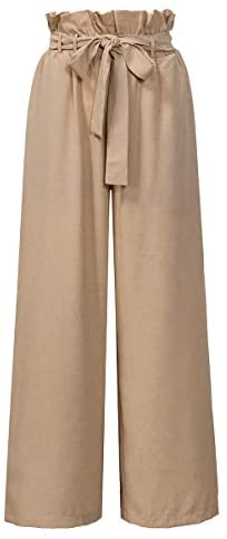 Xintianji Women Frilled Waist Palazzo Pants Casual Wide Leg Trouser Belted with Pockets Khaki