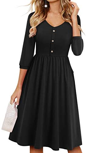 YATHON Fall Dresses for Women 3/4 Balloon Sleeve V Neck Button Down A-Line Casual Dress with Pockets