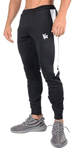 YoungLA Gym Pants for Men | Slim Fit Tapered Sweatpants | Workout Track Joggers | Zipper Pockets Side Mesh 215